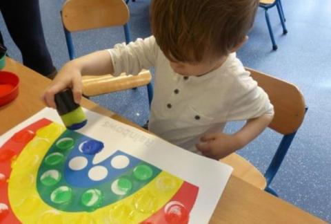 The Infant Community have fun exploring colours