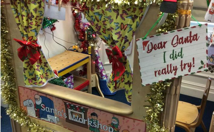 Imaginative play in Santa's workshop