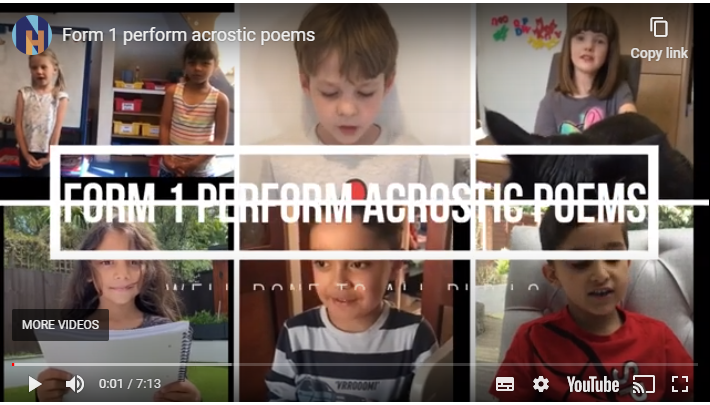 Form 1 perform acrostic poems